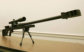 A Barrett .50-caliber rifle on display during a news conference at the Capitol in Washington, D.C. A bullet from one of these rifles can travel miles and penetrate armor.