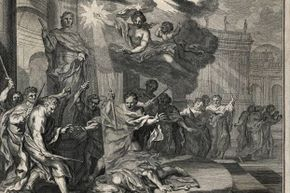 Allegorical engraving of the assassination of Julius Caesar by a group of nobles including Brutus and Cassius, on the Ides (15th) of March, 44 B.C.E.