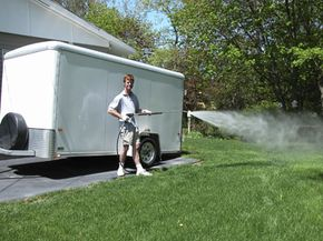This is precisely the kind of power washer you don't want to use on a trailer with an automotive finish like this one has.