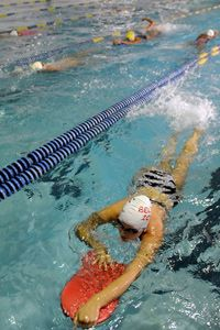 Eryn Greeney of Baltimore practices her swim technique with the North Baltimore Aquatic Club at the Meadowbrook Aquatic Center in Baltimore.
