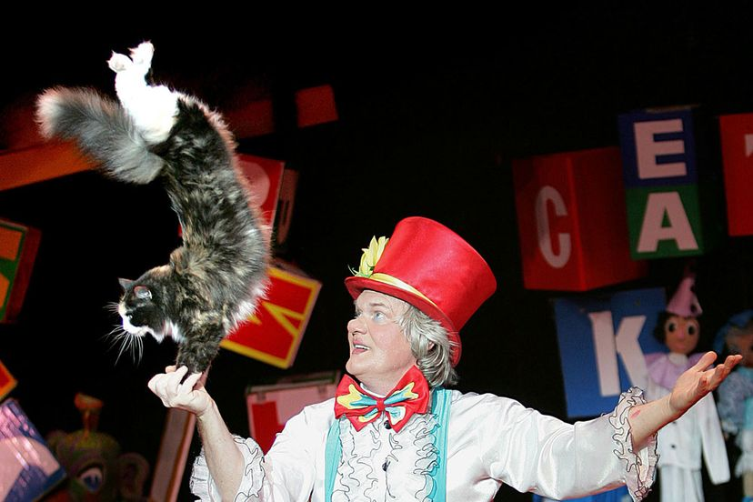 Yuri Kuklachev during a performance of the Moscow Cats Theatre in New York City.