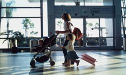 Some airlines will let you take a stroller through security right up to the gate.