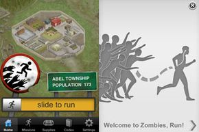 """The home screen and tutorial opening for the """"Zombies, Run!"""" app"""