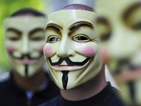 Anonymous holds a protest in Berlin against the Church of Scientology.