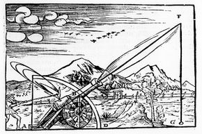 A print from 1561 of a gunner firing a cannon. The path of the projectile is shown according to Aristotelian physics.