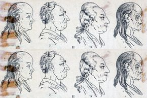 """The four temperaments (based on the four humors) left to right: phlegmatic, choleric, sanguinic and melancholic. This illustration appeared in Frank McMahon's """"Psychology, The Hybrid Science."""""""