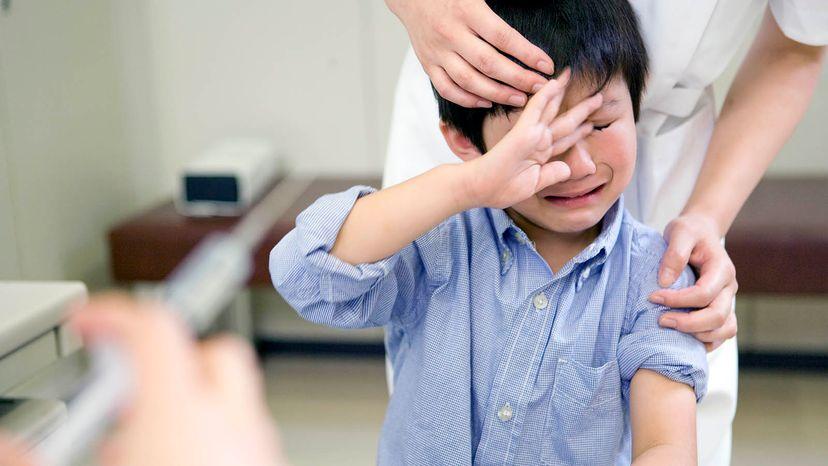 child terrified of shot