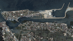 The shore of Banda Aceh, Sumatra, before and after the 2004 tsunami.