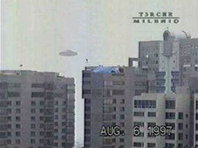 Photo of what appears to be a UFO over Mexico City, Mexico, reportedly taken in 1997