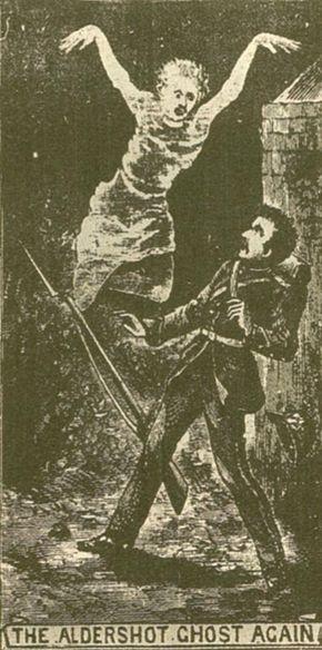 An imaginative rendering of Springheel Jack at Aldershot, England, 1877.