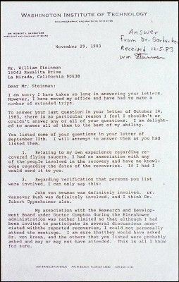 A memo written by Canadian government engineer Wilbert Smith concerning the September 1950 meeting with Sarbacher surfaced three decades later. This led ufologists to Sarbacher for answers. In answer to an inquirer, Sarbacher passed on what he remembered hearing about UFOs during his tenure s a scientific advisor to the Defense Department.