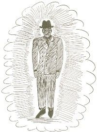 """Albert Bender drew this sketch of one of the men in black. The """"Bender mystery"""" provided endless fodder for UFO buffs of a paranoid disposition."""