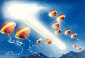 """UFOs over Oloron, France, dropped a cottony substance likened to """"angel hair."""""""
