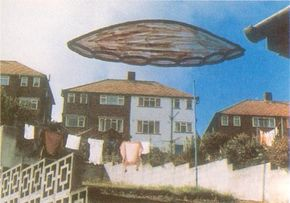 As in this illustration, UFOs have been reported in neighborhoods, cities, and rural areas throughout the United States.