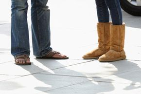 Uggs are commonly worn with leggings or jeans tucked into them (and usually during cold winter months), but they can also be worn with shorts, skirts and casual dresses, especially on the beach.