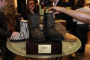 A huge leap from their humble roots, UGG-brand boots are sold in glitzy botiques like this SoHo store. These studded UGGs were a 2010 collaboration with designer Jimmy Choo.