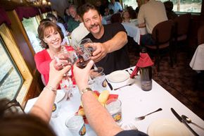 Passengers aboard the Colorado Wine Train can enjoy a variety of wines with either lunch or dinner.
