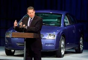 Former vice president Al Gore speaking at a Partnership for New Generation of Vehicles event. The initiative was started to get an 80-mile-per-gallon car on the road by 2003.
