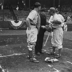 Umps have been getting business for decades. Here, Leo Durocher, player-manager of the Brooklyn Dodgers, argues with legendary umpire Bill Klem, center, about a call. In this picture, Klem had just begun his 36th year of arbitrating.