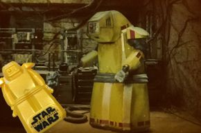 """Leading up to the opening of """"The Force Awakens,"""" General Mills cereals had a promotion featuring a plastic B-U4D (among other droids) that contained an image of the hard-working mechanic. This is far more attention than he got on screen."""