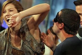 Jessica Biel doesn't appear to have any problems with underarm darkening. She does, however, seem to have a problem with Adam Sandler sniffing her armpit.