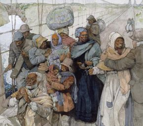 Painting of Harriet Tubman escorting escaped slaves into Canada.