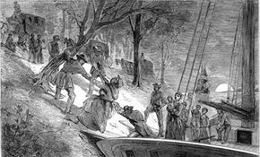 """The engraving """"Heavy Weights - Arrival of a Party at League Island"""" shows escaped slaves arriving on an island near Philadelphia."""