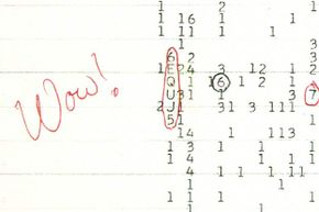 """When Jerry Ehman saw this code sequence, he circled it and wrote """"Wow!"""" next to it. That's how the signal got its name."""