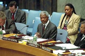 Former Secretary-General Kofi Annan addressing the Security Council