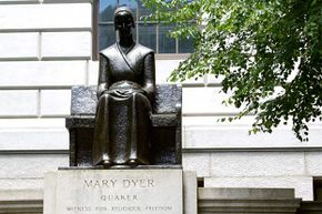 This statue of Mary Dyer sits on Boston Common, hailing her as a heroine of religious freedom.