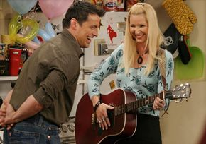 """In an episode of """"Friends,"""" Joey and Phoebe engage in a heady contest -- to find a truly selfless act. See more sitcom images."""