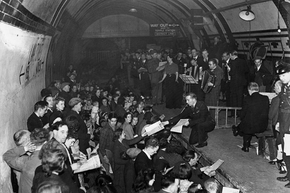 Aldwych station had a bustling side-life during World War II: This concert (with the audience standing on the tracks) was given by the Entertainments National Services Association in 1942.