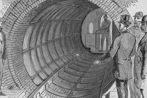 In addition to the abandoned Amtrak line, New York City of course also has its extensive subway system. This 1870 engraving shows the opening of the Broadway tunnel.