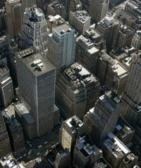 City building roofs and asphalt are often dark-colored, which helps drive the urban heat island effect.