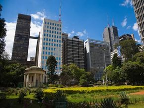 Alexandre Gusmao Square and other office buildings, with city park in foreground. See more pictures of famous gardens.