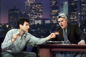 """Uri Geller returned to the """"Tonight Show"""" stage in 2000 to amaze Jay Leno, 27 years after former host Johnny Carson asked another magician to debunk Geller's abilities."""