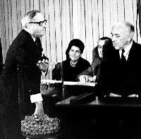 U.S. representative Alexander Pirnie draws the first capsule for the first Vietnam draft lottery (December 1, 1969).