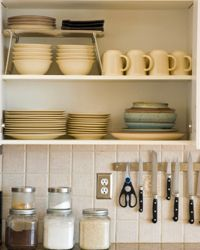 Open shelves will force you to keep things nice and tidy.