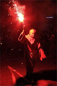 Hand-held signal flares are often used to indicate a precise location -- or to celebrate Guy Fawkes Day.