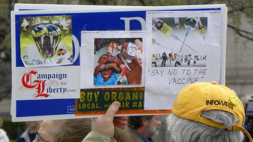 anti-vaccination protestor