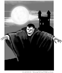 The popular image of a vampire: a cloaked monster that hunts for victims at night.