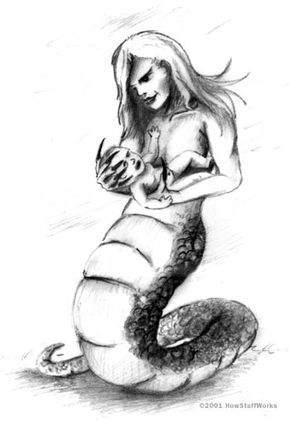 Like Lilith and Lamastu, Lamia is depicted as half woman, half animal. She has the torso of a woman and the lower body of a snake.
