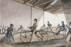 Fashionably dressed men take lessons at Johnson's Pedestrian Hobbyhorse Riding School in the Strand, Westminster, London, 1819. The hobbyhorse was the forerunner of the bicycle.