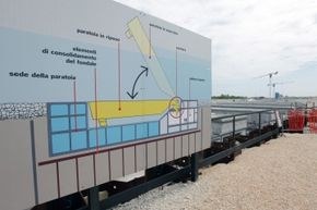 A MOSE construction site featuring a sign-size diagram of how the mobile gates will work.