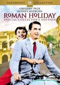 Audrey Hepburn and Gregory Peck on a Vespa in the film Roman Holiday.