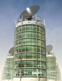 Vertical farm designs feature elegant lines and lots of glass.
