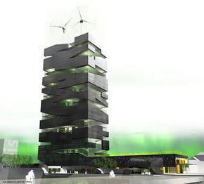 This vertical farm design, by French firm atelier SoA architectes, makes use of small windmills on the building's roof.