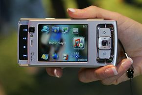 This Nokia phone includes a front-facing camera (to the upper left of the screen) for video conferencing.