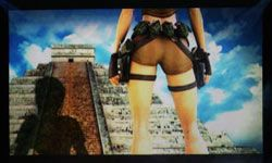 """Lara Croft has often been shown in alluring poses during """"Tomb Raider"""" cut scenes, but the code rumored to remove her clothes is just that -- a rumor."""