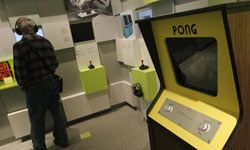 """A """"Pong"""" arcade cabinet holds a place of honor at the Computer Game Museum (Computerspielemuseum) in Berlin, Germany."""